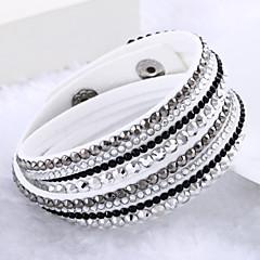 נשים צמידי גלישה עיצוב מיוחד אופנתי שכבות מרובות תכשיטי יוקרה תכשיטים עור אבן נוצצת יהלום מדומה תכשיטים תכשיטים עבור חתונה Party יומי