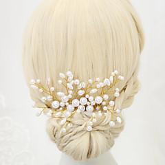 Femme / Jeune bouquetière Alliage / Imitation de perle Casque-Mariage / Occasion spéciale Peigne 1 Pièce Blanc Rond