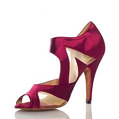 Non Customizable Women's Dance Shoes Satin Satin Salsa Heels Stiletto Heel Practice / Performance Black / Purple
