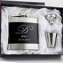 Gift Groomsman Personalized 4 Pieces Stainless Steel 6-oz Flask Gift Set