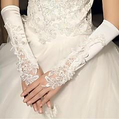 До локтя С открытыми пальцами Перчатка Сатин Свадебные перчатки Весна Лето Осень Зима