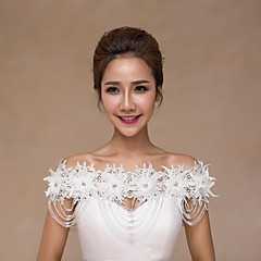 Wedding  Wraps Collars Sleeveless Lace Ivory Wedding Appliques / Lace / Pearls