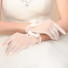 Wrist Length Fingertips Glove Nylon Bridal Gloves Party/ Evening Gloves Spring Summer Fall Winter Bow