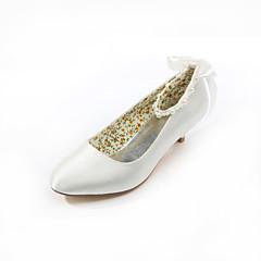 Women's Shoes Silk / Leatherette Low Heel Heels Heels Wedding / Party & Evening / Dress White / Beige