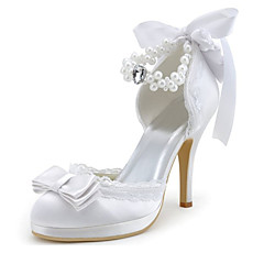 Women's Spring / Summer / Fall Heels / Round Toe Stretch Satin Wedding / Dress / Party & Evening Stiletto HeelCrystal / Pearl / Ribbon