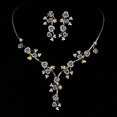 AAA Zircon Gem Rose Flower Shape Necklace & Earrings Jewelry Set(Golden/Silver)