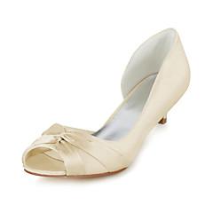 Women's Spring / Summer Heels / Peep Toe Stretch Satin Wedding / Dress / Party & Evening Low Heel Bowknot Blue / Purple / Champagne