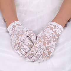 White Lace Elastic Silk Flower Shape Fingertips Wrist Length Bridal Gloves for Wedding Party