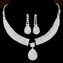 Women's Shiny Rhinestone Bridal Sets Bridal Accessories Water Droplets Pendant Necklace Earrings Set Wedding Party Gift