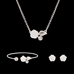 Lucky Doll Women's Diamond Platinum Plated Rhinestone Necklace & Earrings & Bracklet Party Jewelry Sets