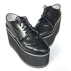 נעליים לוליטה פאנק עבודת יד עקב טריז נעליים אחיד 8 CM Black ל נשים עור