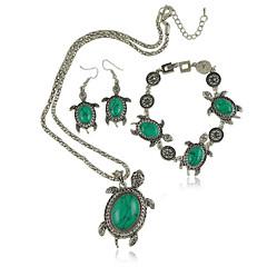 סט תכשיטים לנשים יום שנה / ארוסים / מתנה / מסיבה / יומי סטי תכשיטים סגסוגת טורקיז שרשראות / צמיד / עגילים שחור / אדום / ירוק