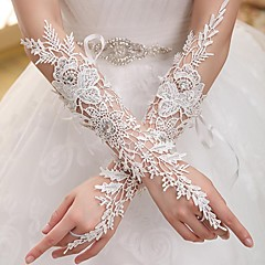 Elbow Length Fingerless Glove Elastic Satin Bridal Gloves / Party/ Evening Gloves Spring / Summer / Fall / Winter White Rhinestone / lace