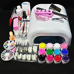 12 Colors UV GEL & 36W White Lamp Nail Art Tools Sets Kits