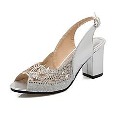 Sandály-Lakovaná kůže / Třpytky-Podpatky / S otevřenou špičkou-Dámská obuv-Černá / Červená / Stříbrná / Zlatá-Kancelář / Šaty / Party-