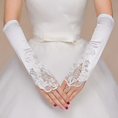 Elbow Length Fingerless Glove Satin / Lace Bridal Gloves / Party/ Evening Gloves Ivory Sequins / Beading / Appliques / Embroidery