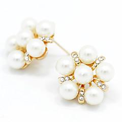 ボタンイヤリング 女性用 人造真珠 イヤリング クリスタル / 人造真珠