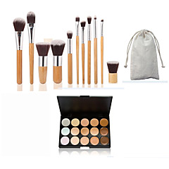 11pc Bamboo Handle and Nylon Hair Cosmetic Makeup Brush Set and 15 Colors Concealer