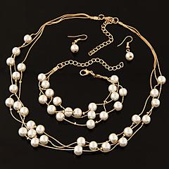 Women Fashion Boutique Sweet and Elegant Imitation Pearl Necklace Earrings Bracelet Sets