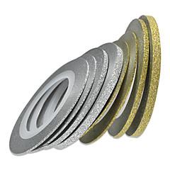 1pcs 1mm 20m nail art goud / zilver glitter streep tape nail art decoratie gereedschappen nc275