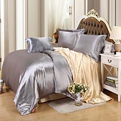 Massiv Seidenimitat 4 Stück Bettbezug-Sets