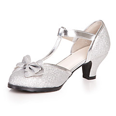 Heels Spring Summer Light Up Shoes Leatherette Dress Casual Chunky Heel Bowknot Blue Pink Silver