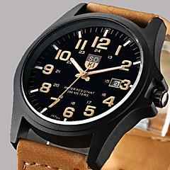 Homens Relógio Elegante Relógio de Moda Relógio de Pulso Quartzo Calendário Couro Banda Casual Marrom Verde Cáqui