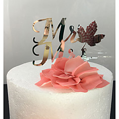 Kakepynt Ikke-personalisert Klassisk Par Akryl Bryllup Sølv Klassisk Tema 1 OPP