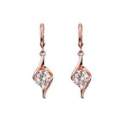 AAA Zircon 18k Gold/Silver Drop Earrings