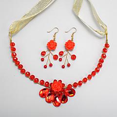Conjunto de jóias Mulheres / Crianças Casamento / Noivado Conjuntos de Joalharia Liga Cristal Colares / Brincos Vermelho
