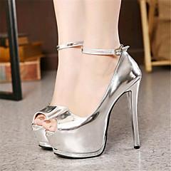 Women's Shoes Leatherette Stiletto Heel Heels / Peep Toe Heels Wedding / Party & Evening Black / White / Silver