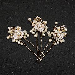Mulheres Menina das Flores Liga Imitação de Pérola Resina Capacete-Casamento Ocasião Especial Alfinete de Cabelo 2 Peças
