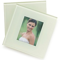 Forever Love, Pure White Photo Frame Glass Coasters Wedding Favors(1pcs)