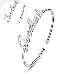 Men's / Unisex / Women's / Couples' Personalized / Round Bangles Bracelet Silver / Platinum Non Stone