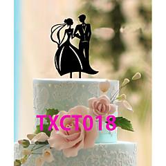 Decorações de Bolo Não-personalizado Casal Clássico Acrilíco Casamento Preto Tema Clássico 1 PPO