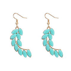 Hot Sale Bohemian Vintage Silver Leaf Feather Big Drop Earrings Women 2015 New Fashion Long Earrings