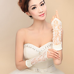Elbow Length Fingerless Glove Satin / Lace / Elastic Satin Bridal Gloves / Party/ Evening Gloves Spring / Summer / Fall / WinterBeading /