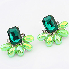 European And American Fashion Extravagance Gemstone Flower Earrings