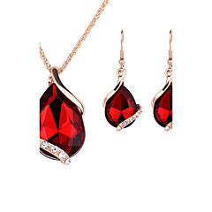 Women's Jewelry Set Drop Earrings Pendant Necklaces Necklace/Earrings Crystal Fashion Costume Jewelry Rose Gold Crystal Rhinestone Alloy