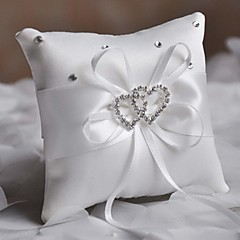 Fashion Ring-pillow With Rhinestone Double Heart Shape