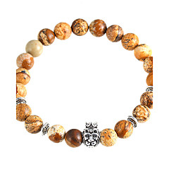 Women's Crown Lion Head Bracelet Natural Stone Beads Brown Bracelet