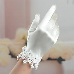 Wrist Length Fingertips Glove Satin / Elastic Satin Bridal Gloves / Party/ Evening Gloves Spring / Summer / Fall / Winter IvoryRhinestone