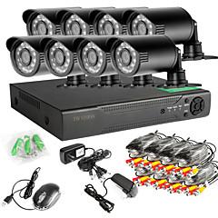 8-kanals 960h netværk dvr 8pcs 1000tvl ir udendørs CCTV overvågningskameraer systemet