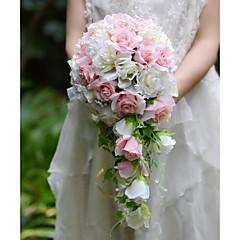 YuXiYing  Elegant  Cascade  Shape  Rose Bridal Wedding Bouquet