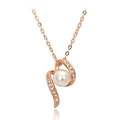 女性 カップル用 ペンダントネックレス パールネックレス クリスタル 真珠 クリスタル 人造真珠 キュービックジルコニア 合金 ファッション 愛らしいです シルバー ゴールデン ジュエリー 結婚式 パーティー 日常 カジュアル 1個