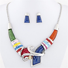 Jewelry Set Stud Earrings Bib necklaces Fashion European Statement Jewelry Silver Plated Jewelry Blue Rainbow Necklaces Earrings ForParty