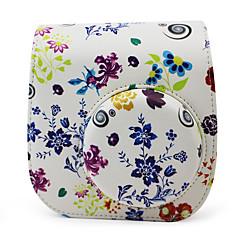 Blumen-PU-Ledertasche mit abnehmbarem Schultergurt und Tasche für Fujifilm Instax mini 8/8 + Sofortbildkamera