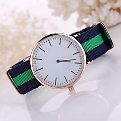 Herren Damen Kleideruhr Armbanduhren für den Alltag Quartz Stoff Band Schwarz Weiß Blau Rot