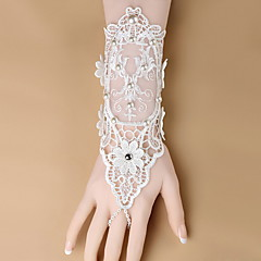Wrist Length Fingerless Glove  / Spandex Bridal Gloves / Party/ Evening Gloves Spring / Summer / White Beading