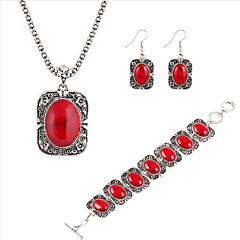 National Wind Turquoise Onyx Jewelry Sets Silver Alloy Pendant Necklace + Earrings + Bracelet  Three-piece